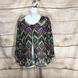 Apparenza tribal shawl sweater shirt Large #625
